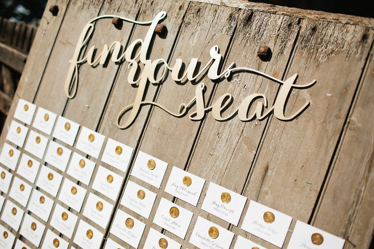Wooden Seating Chart | Natalie Hewitt Planned Wedding at Normanton Church & Kingsthorpe Lodge Barn | Jeni Smith Photography | Blue Ridge Wedding Videography