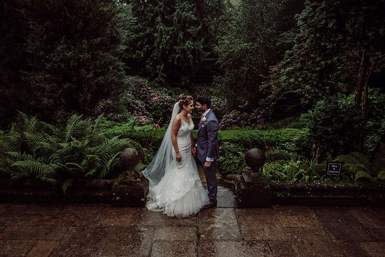 Pronovias Bride With Relaxed Up Do For A Navy & Gold Themed Wedding At Larmer Tree Gardens With Images From Jason Mark Harris