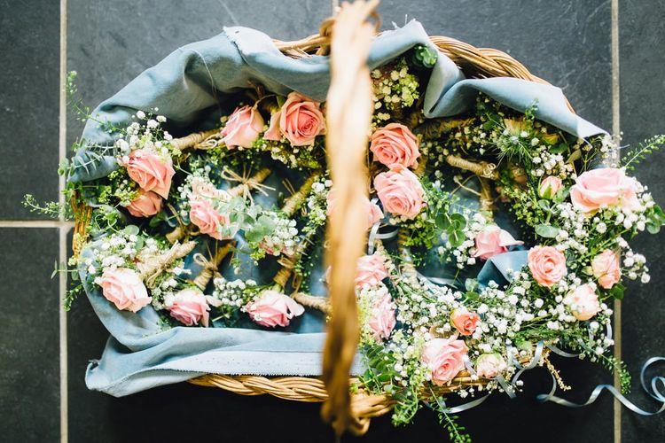 Basket of Pink Rose Buttonholes