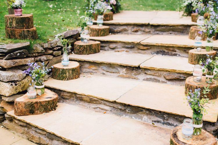 Rustic Tree Stump Wedding Decor