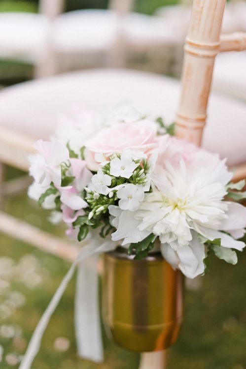 Aisle Chair Flowers by Blue Sky Flowers | Outdoor Blush Flower Filled Wedding at Pennyhill Park, Surrey Planned by Something Blue Weddings | Anushe Low Photography | Reel Weddings Film