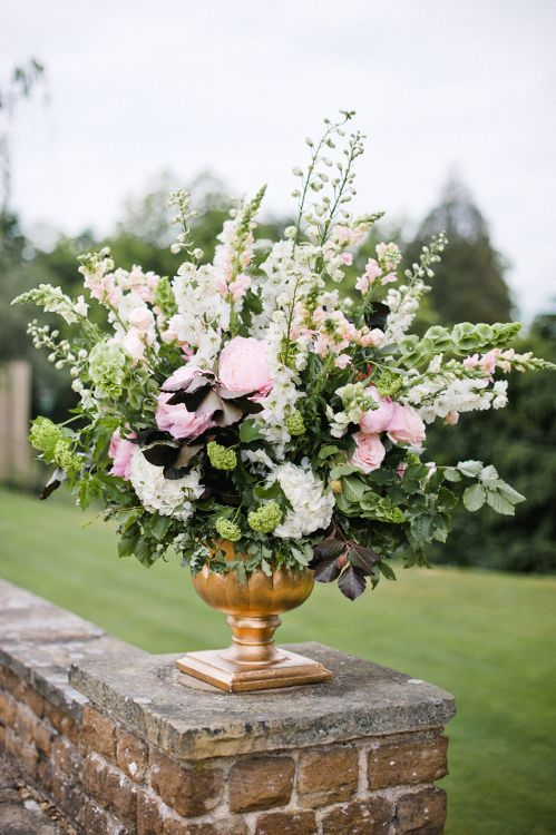 Pink, White & Green Floral Arrangement by Blue Sky Flowers | Outdoor Blush Flower Filled Wedding at Pennyhill Park, Surrey Planned by Something Blue Weddings | Anushe Low Photography | Reel Weddings Film