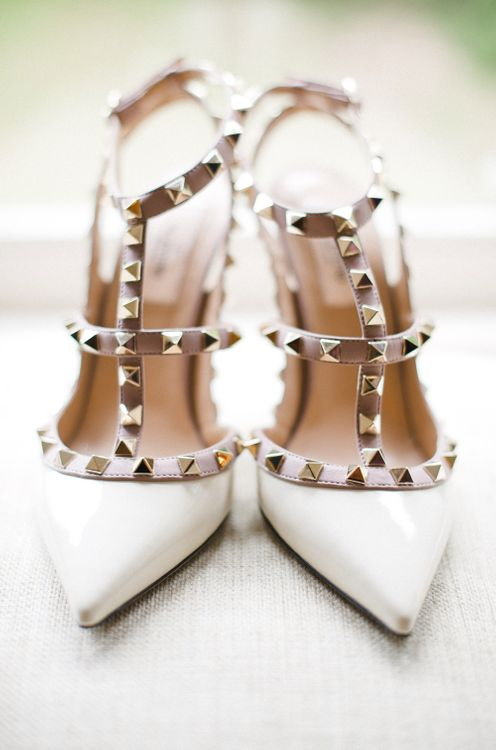 Valentino Rockstud Shoes | Outdoor Blush Flower Filled Wedding at Pennyhill Park, Surrey Planned by Something Blue Weddings | Anushe Low Photography | Reel Weddings Film