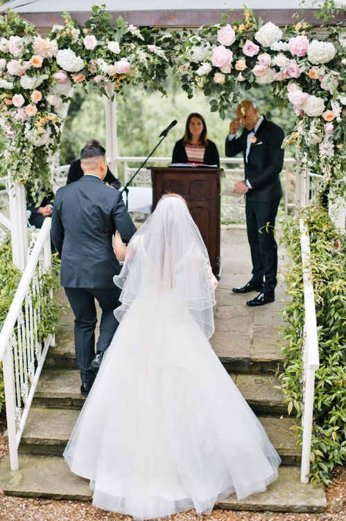 Outdoor Wedding Ceremony | Bride in Sassi Holdford | Groom in Dolce & Gabbana Suit | Pennyhill Park Wedding, Surrey, Planned by Something Blue Weddings | Anushe Low Photography | Reel Weddings Film