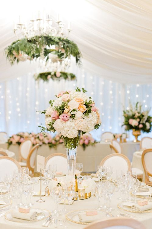 Blush Flower Filled Wedding Reception at Pennyhill Park, Surrey Planned by Something Blue Weddings | Anushe Low Photography | Reel Weddings Film