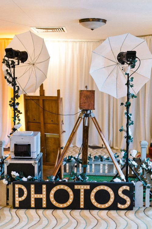 Photo Booth | Blush Flower Filled Wedding at Pennyhill Park, Surrey Planned by Something Blue Weddings | Anushe Low Photography | Reel Weddings Film