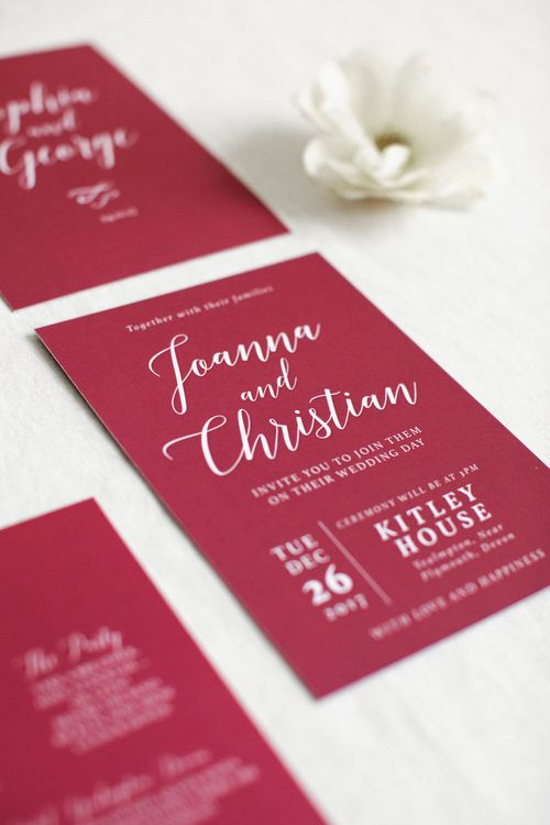 Raspberry Coloured Stationery Suite