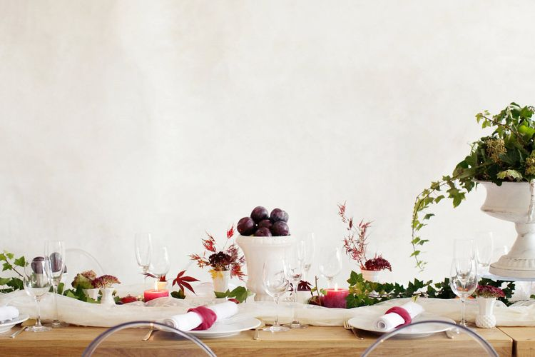 Berry Toned Table Scape Styling by Elle at Inspire Hire