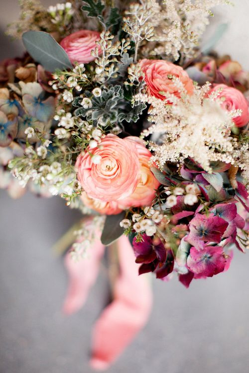 Berry & Peach Toned Bridal Bouquet