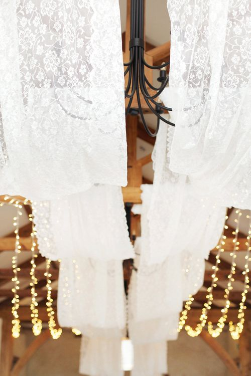 White Fabric Ceiling Hangings For Wedding Venue