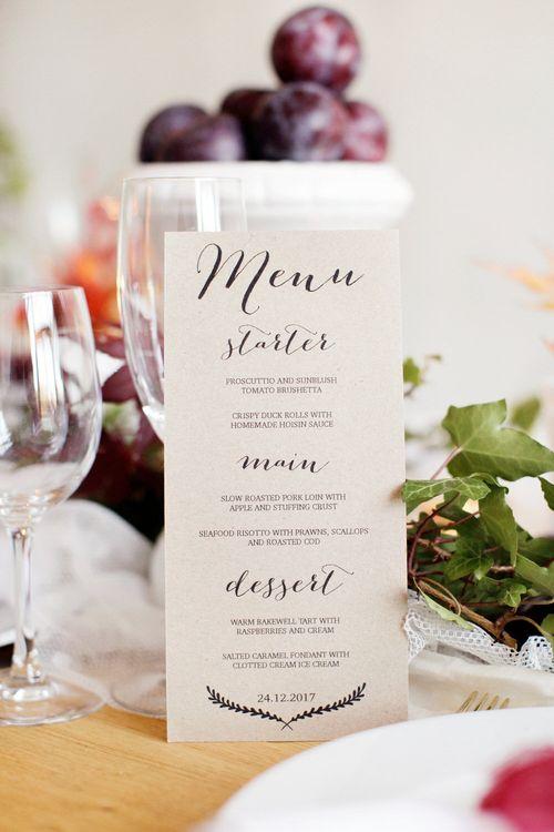 Rustic But Minimal Wedding Menu