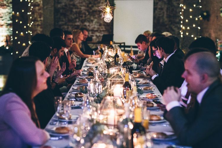Intimate Wedding Reception In A London Warehouse