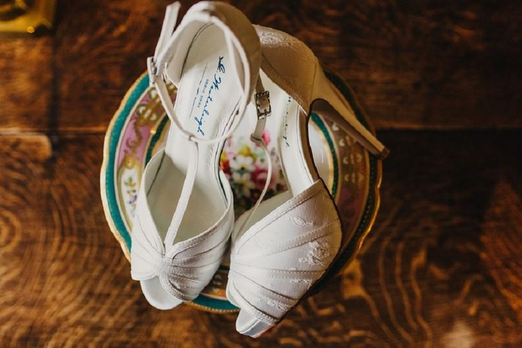 Scarlet G.Westerleigh Bridal Shoes | Coral & Green Wedding at The Italian Villa in Poole, Dorset with Japanese Gardens | Peppermint Love Photography | Wedding Memories Film