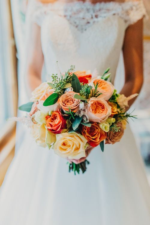 Bride in Suzanne Neville Heather Wedding Dress | Classic Rose Bridal Bouquet | Coral & Green Wedding at The Italian Villa in Poole, Dorset with Japanese Gardens | Peppermint Love Photography | Wedding Memories Film