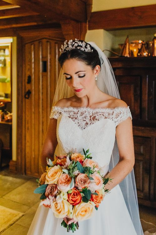 Bride in Suzanne Neville Heather Wedding Dress | Coral & Green Wedding at The Italian Villa in Poole, Dorset with Japanese Gardens | Peppermint Love Photography | Wedding Memories Film