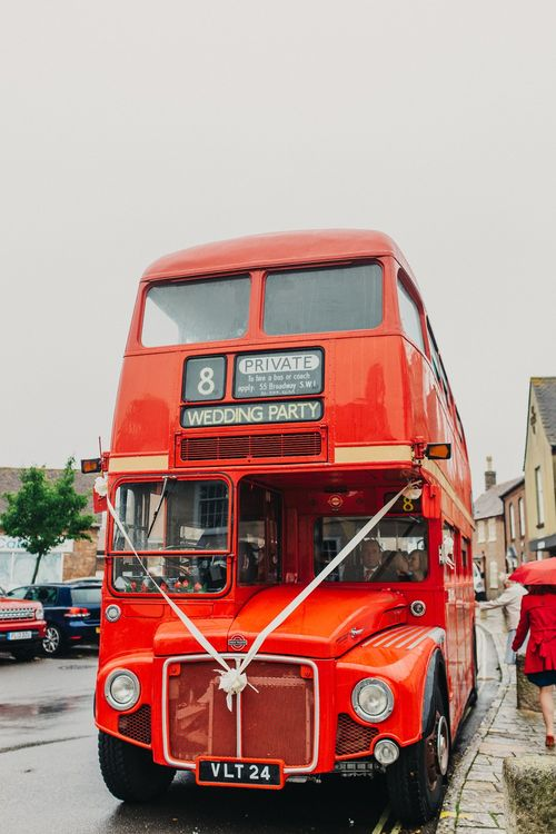 Red Double Decker Bus | Coral & Green Wedding at The Italian Villa in Poole, Dorset with Japanese Gardens | Peppermint Love Photography | Wedding Memories Film