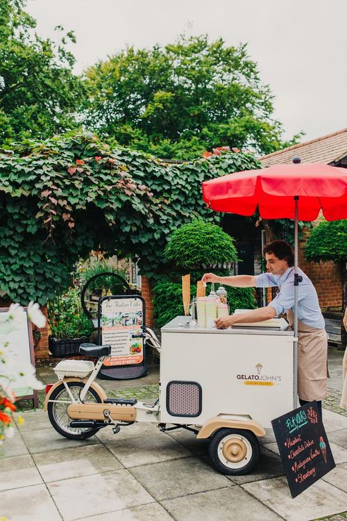 Ice Cream Truck | Coral & Green Wedding at The Italian Villa in Poole, Dorset with Japanese Gardens | Peppermint Love Photography | Wedding Memories Film