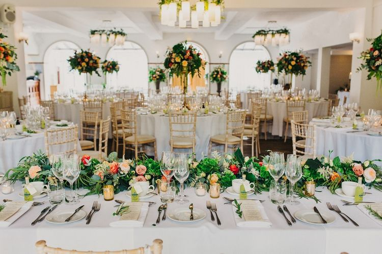 Wedding Reception Decor | Coral & Green Wedding at The Italian Villa in Poole, Dorset with Japanese Gardens | Peppermint Love Photography | Wedding Memories Film