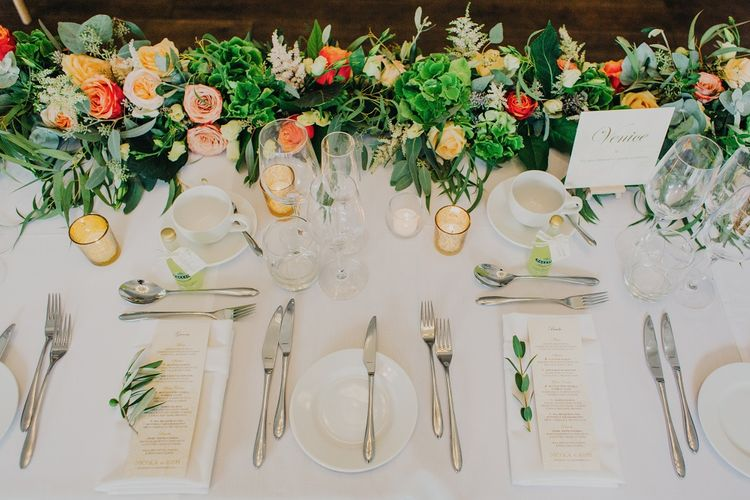 Top Table | Coral & Green Wedding at The Italian Villa in Poole, Dorset with Japanese Gardens | Peppermint Love Photography | Wedding Memories Film
