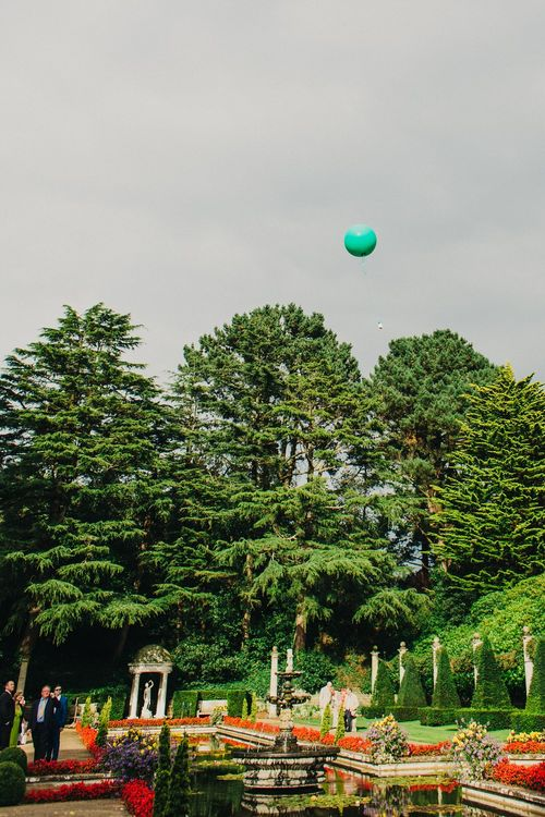 Balloon Send Off | Coral & Green Wedding at The Italian Villa in Poole, Dorset with Japanese Gardens | Peppermint Love Photography | Wedding Memories Film