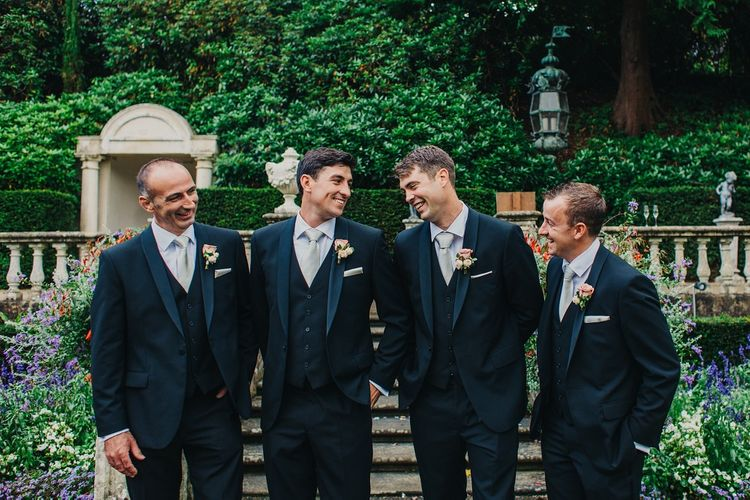 Groomsmen in Tuxedos | Coral & Green Wedding at The Italian Villa in Poole, Dorset with Japanese Gardens | Peppermint Love Photography | Wedding Memories Film