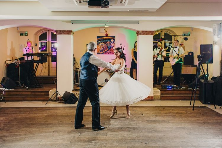First Dance | Bride in Justin Alexander 8800 Wedding Dress | Groom in Tuxedo | Coral & Green Wedding at The Italian Villa in Poole, Dorset with Japanese Gardens | Peppermint Love Photography | Wedding Memories Film