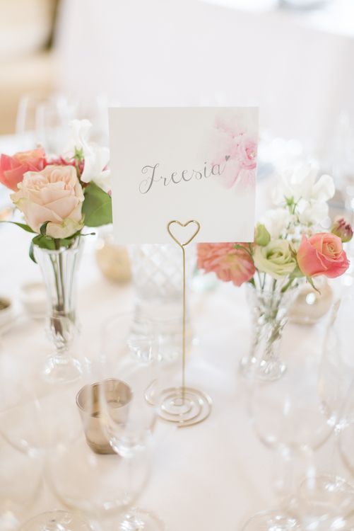 Flower Table Names & Pink Flower Stems in Bud Vases as Centrepieces