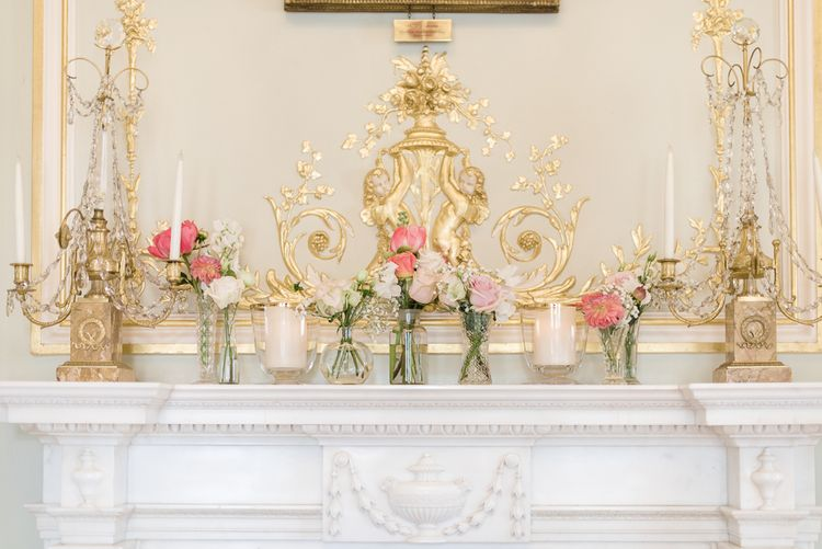 Pink Flower Stems in Bud Vases