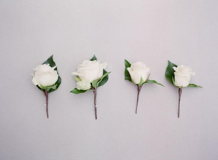 Classic White Rose Buttonholes
