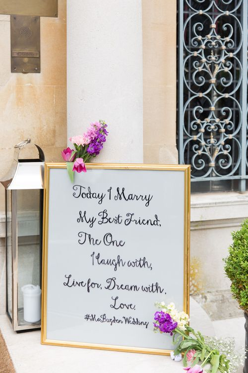 Today I Marry My Best Friend Quote Wedding Sign