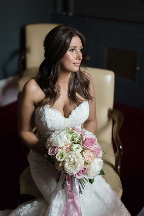 Elegant Bride in Enzoani Lace Wedding Dress from JS Couture