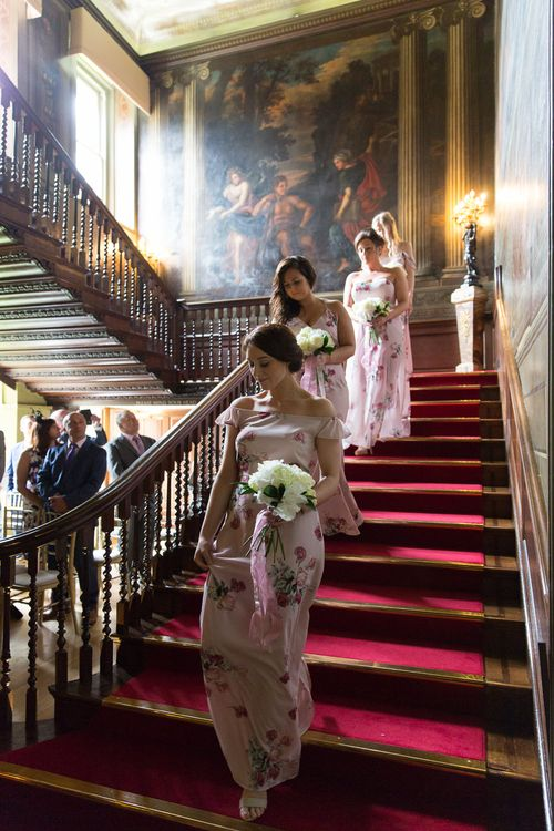 Bridesmaids Entrance in Bespoke Pink Floral ASOS Dresses