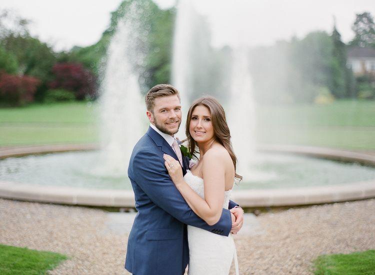 Bride & Groom Water Fountain at Fetcham Park Surrey