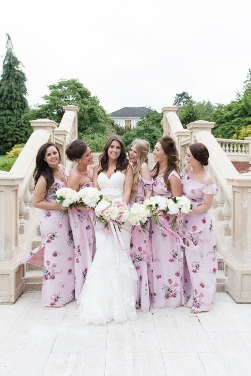 Bridal Party   Bridesmaids in Pink Floral Bespoke ASOS Dress   Bride in Enzoani Gown