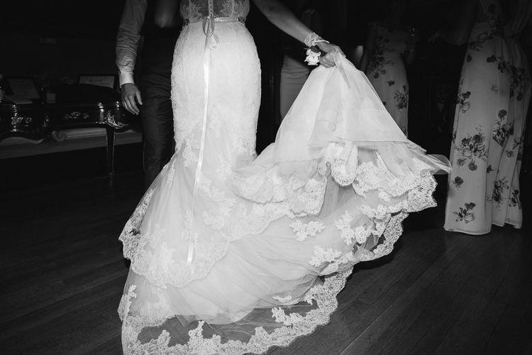 Bride in Lace Enzoani Wedding Dress