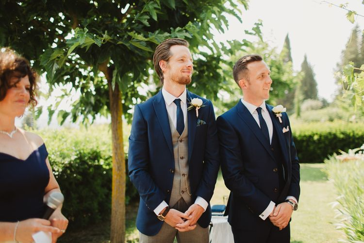 Groom at the Altar in Grey & Navy Suit | Frances Sales Photography