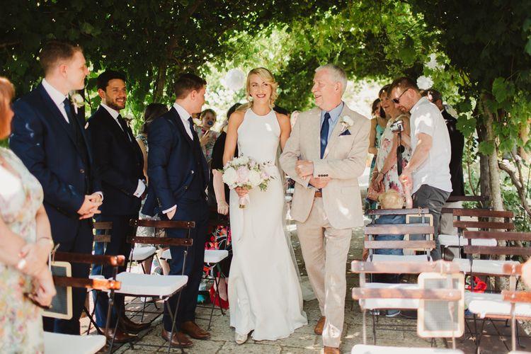 Bridal Entrance in Orleans Sarah Seven Gown | Frances Sales Photography