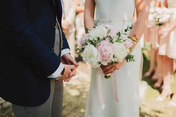 Pink & White Peony Bouquet | Outdoor Italian Wedding Ceremony at Borgo Petrognano Planned by Tuscan Wedding Planners| Frances Sales Photography