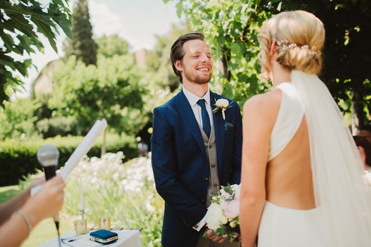 Bride in Sarah Seven Orleans Gown | Outdoor Italian Wedding Ceremony at Borgo Petrognano Planned by Tuscan Wedding Planners | Frances Sales Photography