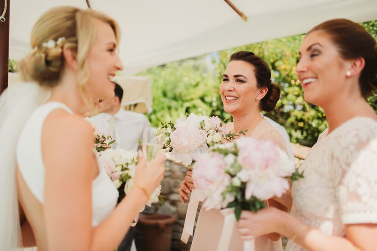 Bridesmaids in Pink ASOS Dresses with Peony Bouquets | Frances Sales Photography