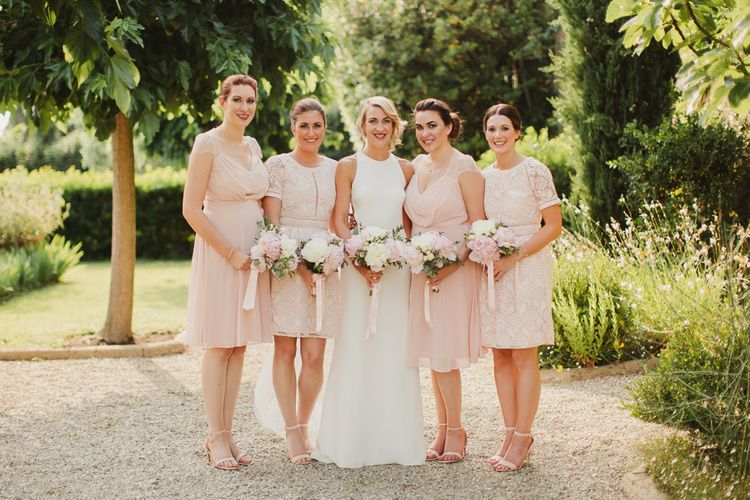 Bridesmaids in Pink ASOS Dresses | Bride in Sarah Seven Orleans Gown | Frances Sales Photography