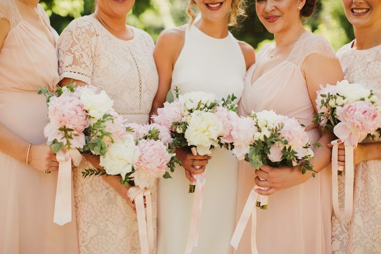 Pink & White Peony Bouquet with Ribbon | Frances Sales Photography