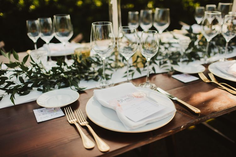 Place Setting | Outdoor Italian Wedding at Borgo Petrognano Planned by Tuscan Wedding Planners | Frances Sales Photography