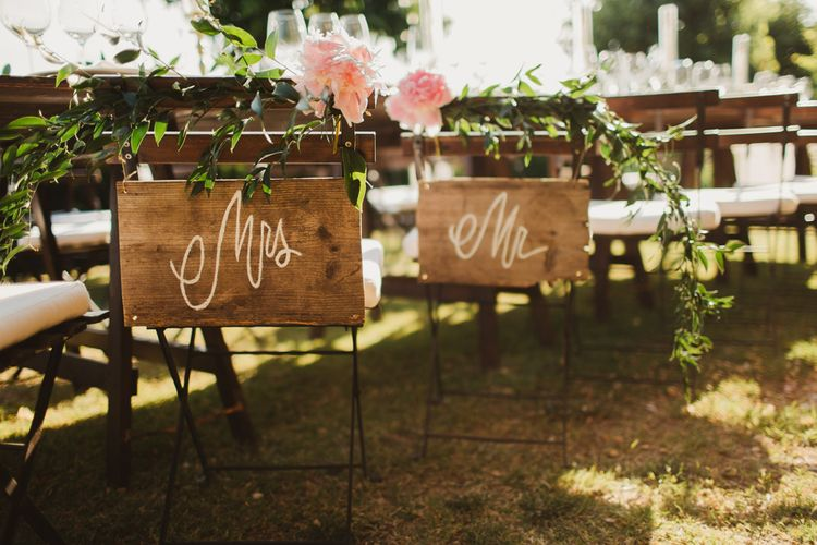 Chair Back Decor | Outdoor Italian Wedding at Borgo Petrognano Planned by Tuscan Wedding Planners | Frances Sales Photography