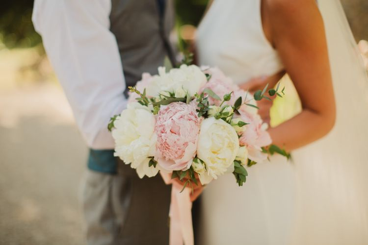 Pink 7 White Peony Wedding Bouquet | Frances Sales Photography
