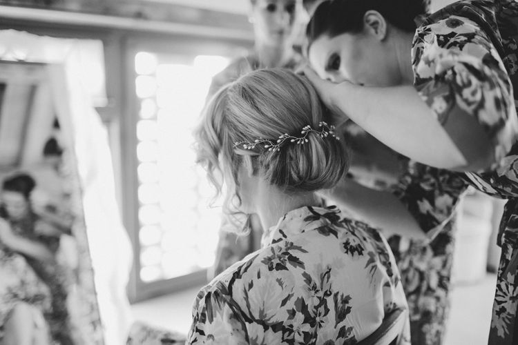 Bridal Up Do | Chic Chignon | Outdoor Italian Wedding at Borgo Petrognano Planned by Tuscan Wedding Planners | Frances Sales Photography