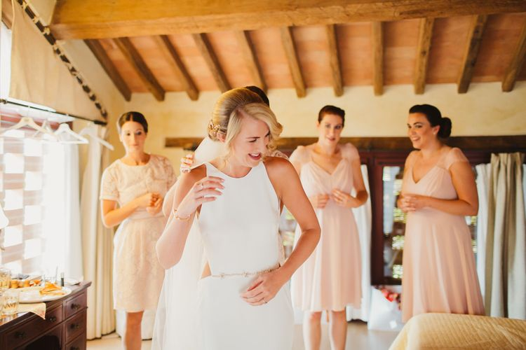 Bridal Preparations | Bride in Orleans Sarah Seven Gown | Bridesmaids in Pink ASOS Dresses | Frances Sales Photography