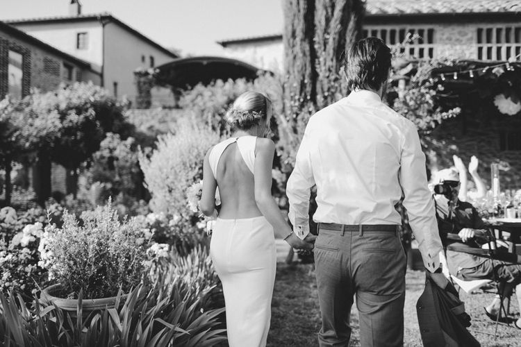 Bride in Backless Sarah Seven Orleans Gown | Groom in Grey & Navy Suit | Frances Sales Photography