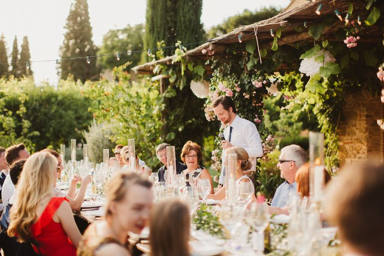 Speeches | Outdoor Italian Wedding at Borgo Petrognano Planned by Tuscan Wedding Planners | Frances Sales Photography