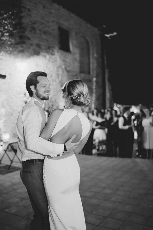 First Dance | Bride in Backless 'Orleans' Sarah Seven Wedding Dress | Frances Sales Photography